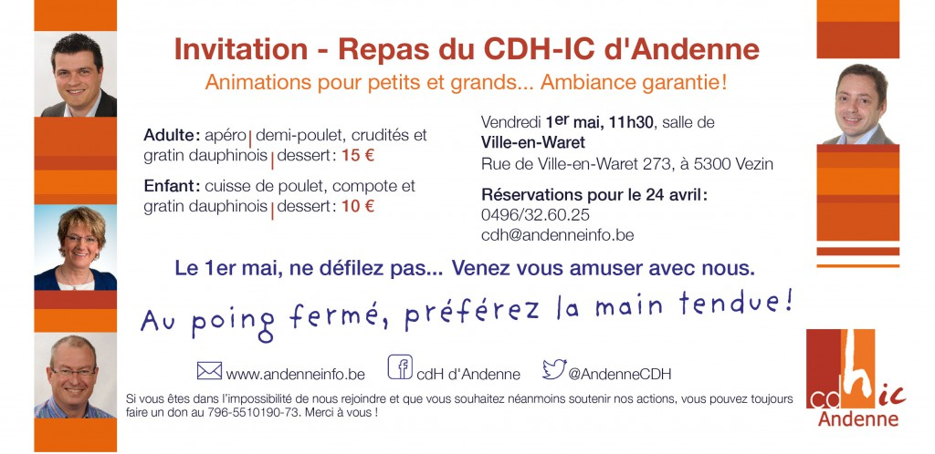 Invitation au repas 2015 du cdH-ic d'Andenne