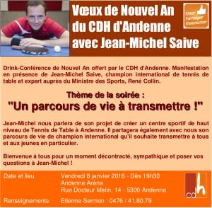Invitation au drink-conférence du cdH d'Andenne le 8 janvier 2016 à l'Andenne Arena