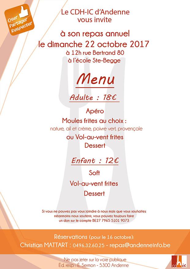 Repas annuel le 22 octobre 2017 invitation cdh d 39 andenne - Idee menu invitation amis ...